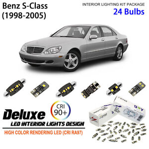 24 Bulbs Super Bright LED Interior Light Kit For (W220) 1998-2005 Benz S-Class