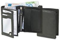 Platino Herren Geldbörse im Hochformat aus feinstem Nappa Leder in Schwarz
