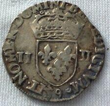 MONNAIE ROYALE FRANçAISE   EN ARGENT QUART D ECU  HENRI III DE 1583. 9 RENNES