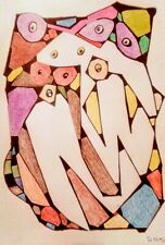 """Abstract Art by SHAMO One of a Kind Colored Pencils on Paper Painting 12"""" x 9"""""""