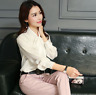 Womens Satin Silk Button Down Blouse Top Bow Tie Neck Shirt Long Sleeve Zhou8