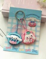 2PC Cute Cinnamoroll Dog Key Cap Cover Silicone Keychain Case Keyring Key Chain