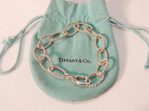 VINTAGE TIFFANY STERLING SILVER BRACELET LINK / TENNIS BRACELET IN POUCH A+ GIFT