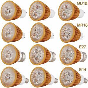 Dimmable LED Spotlight GU10 MR16 E27 E14 9W 12W 15W Golden Shell Light Bulbs SCA
