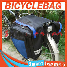 New Bike Bicycle Rear Rack Pannier Bag Waterproof Seat Box Blue