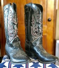 J DIAMOND Mens Western Cowboy Riding Boots BLACK Leather RED Stitch Size 9 EE