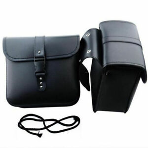 2PCS Motorcycle PU Leather L&R Saddle Bags Storage Tool Pouch Black Waterproof