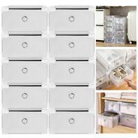 10/20Pc Foldable Plastic Shoe Box Storage Metal Frame Drawer Stackable Organizer