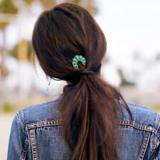 Prender a El pelo Pin Largo Plateado Floral Turquesa Retro Clase Matrimonio FJ3