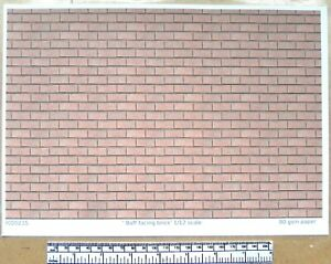 """Dolls house 1/12th scale """"Facing brick - buff"""" paper - A4 sheet"""