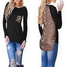 Femme Chemise à manches longues Top Haut T-shirt Chemisier Dos Leopard