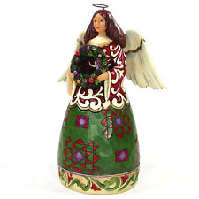 "Jim Shore Prepare For Christmas Joy 10"" Angel Figurine 4027719 Wreath Evergreen"