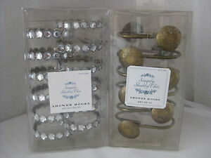 HTF SIMPLY SHABBY CHIC CLEAR RHINESTONE OR ETCHED BRASS SHOWER HOOKS SET OF 12