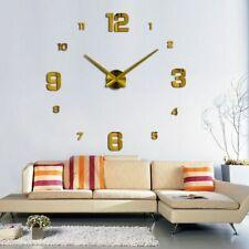 Diy Frameless Giant Wall Clock Modern Mute Mirror Number Stickers Non Ticking