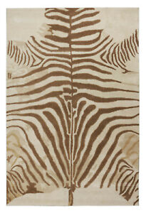 New Brand 5 x 8 Zebra Brown Handmade Contemporary Style Woolen Rug & Carpets