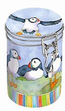 Emma Ball Puffin Clip Top Tin Caddy - Great Storage for Tea/Coffee or Pasta