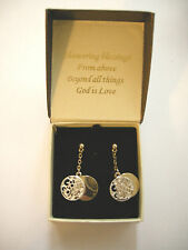 Earrings, God Is Love, Dangle, Studs, Silver & Gold Color, Brand New In Gift Box