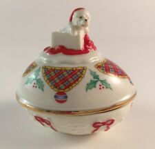 Lenox 1994 Christmas Surprise Collector Egg ivory porcelain trinket puppy cert.