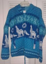 NEW SMALL TEAL/WHITE ALPACA FULL ZIPPER SWEATER WITH INCA DESIGNS. HOODIE