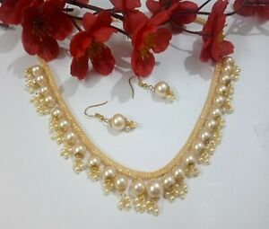 Indian Party Wear Pearls Necklace Champagne Color Bridesmaid Gold Plated Jewelry