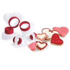 Cuisipro Snap Fit Cookie Cutters 5 Shapes Set nest Baking - HEARTS