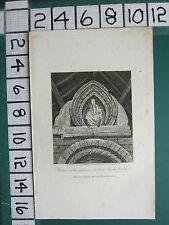 1815 datato antico Yorkshire stampa ~ Statua in ingresso newbald Chiesa