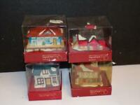 4 Vintage Dept 56 New England Village Clip On Ceramic Christmas Ornaments