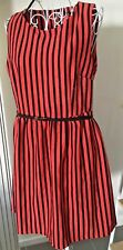 Ladies Dress Orange & Black Stripes & Belt Sleeveless Sz 12-14 Au BNWT RETRO+