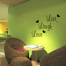 Live Laugh Love Wall Decals with Heart Shape Removable Wall Stickers Home Decor