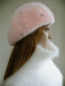 Ultra-soft TOP quality fluffy Angora diamond & pearl BERET in lovely Pale Pink.