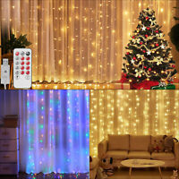 300LED Curtain Lights Fairy Hanging String Light Xmas Wedding Party Home Decor