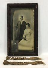 Antique Braided Child Hair & Postcard As Child & Marriage Photo Original Frame