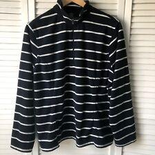 Lands End Women's Fleece Thermacheck Pullover XL/P 18 Striped 1/4 Zip