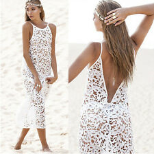 Womens Girl Summer White Lace Cover Up Beach Slip Backless Maxi Dress Bridesmaid