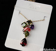 Genuine Gold Plated Very Shiny Multi-Coloured CZ Cubic Zirconia Necklace UK New