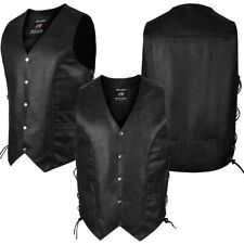 ARD Genuine Leather Men's Braided Side Lace Motorcycle Biker Vest S-6XL Black