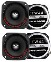 "4) New Pyramid TW44 1"" 1200W Heavy Duty Titanium Dome Bullet Car Super Tweeters"