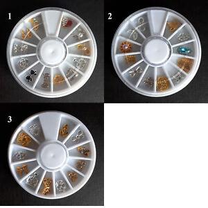 New Wheel 12 x Mixed Nail Decoration Charms, Bows, Crystals, Hearts, Crowns, UK