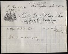 More details for 1872 warrington -john edelston & son, pin, file & tool manufacturers, by appoint