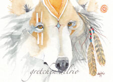 PATHFINDER watercolor greeting card WOLF spirit totem  blank