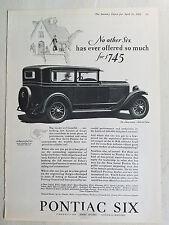 1928 Pontiac 2 Two Door Sedan Car a Successful Six Original Ad
