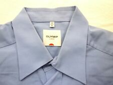 E7943 Olymp Luxor Businesshemd Kombimanschette 41 blau Unifarben Neuwertig