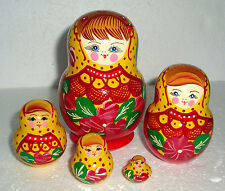 """Beautiful Russian Nesting Doll ~5pc~4.5""""~ VERY CUTE~WITH LADYBUG~HAND PAINTED"""