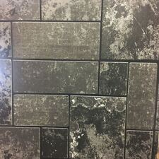Black Glitter Brick Slate Stone Wallpaper Tile Kitchen & Bathroom Textured Vinyl