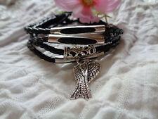 Echtes Leder Armband 4fach schwarz silber antike Engelsflügel