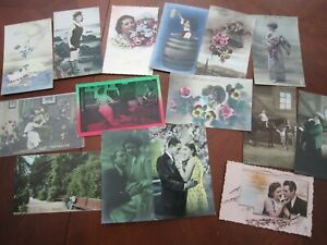 Lot of 15 Antique French Real Photo Tinted Postcards Romance Couples Children