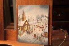 Circa 1930-40's Antique Christmas Card Village Scene
