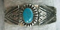 VINTAGE OLD PAWN TURQUOISE NAVAJO SILVER BRACELET CUFF