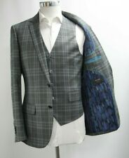 Men's A&D Hope 3pc Dark Grey Checked Suit (40R)..Ref: 6674