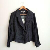 NWT FLAX 100% Linen Jacket Size Medium Women's Black Button Front Blazer